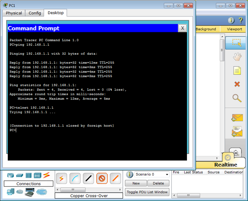 Packet Tracer telnet